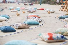 Carlsbad CA beach wedding pillows and beach mats decorations and seating