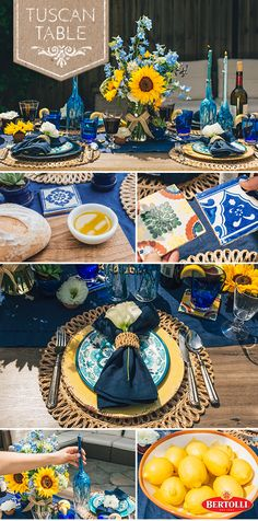 Warmer weather means al fresco dining is almost in full swing! Design your outdoor tablescape using bright and bold colors, and add eye-catching elements like a popping sunflower centerpiece.