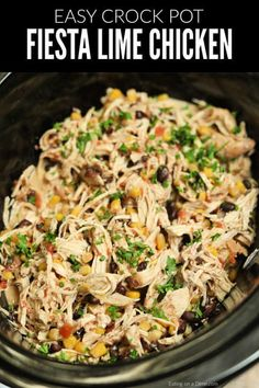 Crock Pot Fiesta Chicken Recipe is perfect for tacos, salads, burrito bowls and more! Toss everything into the slow cooker and dinner will be ready with very little work. Crock Pot Fiesta Chicken Recipe This simple and delicious Slow Cooker Recipes, Beef Recipes, Healthy Recipes, Healthy Crock Pot Meals, Recipies, Seafood Recipes, Summer Crock Pot Recipes, Gluten Free Recipes Crock Pot, Chicken Crock Pot Meals