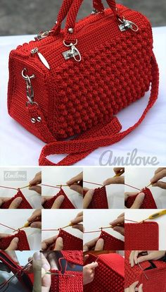 Bobble Stitch Handbag Crochet Pattern with Video Tutorial # Instructions . - - Bobble Stitch Handbag Crochet Pattern with Video Tutorial # stitch Crochet Bag Tutorials, Crochet Purse Patterns, Crochet Motifs, Handbag Patterns, Tutorial Crochet, Poncho Patterns, Knitting Patterns, Crochet Handbags, Crochet Purses
