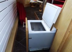 freezer built under dinette: the fit out on this narrowboat from Milburn Boats is amazing.