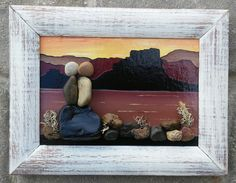 """Pebble Art Couple in the beautiful desert set in an """"open"""" rustic 5x7 wood frame by CrawfordBunch on Etsy"""