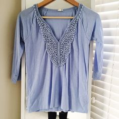 J.Crew blue lace placket tee size XS In great condition with no flaws. Fits true to size. J. Crew Tops Tees - Long Sleeve