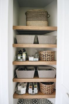 Creating a Beautiful and Efficient Laundry Room - Within the Grove Laundry Closet, Laundry Room Storage, Bathroom Storage, Wooden Floating Shelves, Wooden Storage Shelves, Floating Deck, Linen Closet Organization, Diy Organization, Organizing Ideas