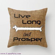 "Dachshund ""Live Long and Prosper"" Pet Graphic Print 16"" x 16"" Throw Pillow Cover - Couch Art, Burlap, Dog, Trekkie, Star Trek, Leonard Nemoy"