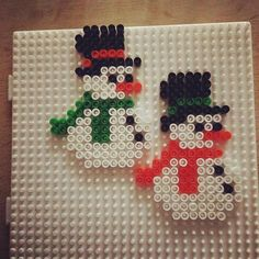 Snowmen hama beads by  stinemariegh
