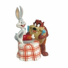 "BUGS bunny TASMANIAN LOONEY tune SALT PEPPER SHAKER NEW by Westland. $14.95. This cute salt and pepper shaker set will add a little humor to mealtime.. Taz measures 3.5"" H X 2"" W, Bugs is 4.5"" H X 2.25"" W. A terrific gift for your favorite Looney Tunes fan.. Bugs has made Taz a DYNAMITE dinner !. Hand washing is recommended. Bugs has made Taz a DYNAMITE dinner !  This cute salt and pepper shaker set will add a little humor to mealtime.  A terrific gift for your fa..."