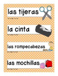 Classroom labels in Spanish (go with the English ones too!)