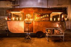 Unusual but brilliant: Wedding Food Trucks.this Chingon Taco Truck offers gluten free food for weddings and events Food Truck Wedding, Wedding Catering, Catering Van, Vintage Caravans, Vintage Trailers, Vintage Campers, Mobile Food Cart, Concession Food, Mobile Cafe