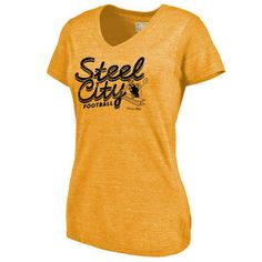 Women's Pittsburgh Steelers NFL Pro Line Heathered Gold Hometown Collection Tri-Blend V-Neck T-Shirt
