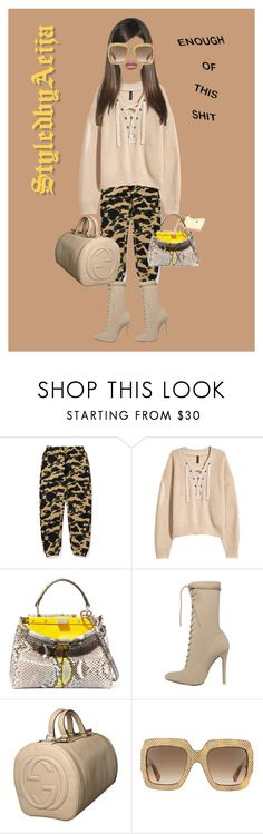 """""""Leave me alone"""" by lilcud ❤ liked on Polyvore featuring H&M, Fendi and Gucci"""