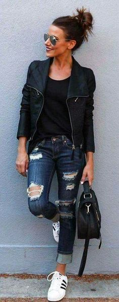 Jackets, holey jeans and sunglasses-my style
