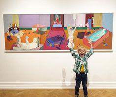 """WEBSTA @ efvva - This kid loves this painting 🎨 by #ewakuryluk 💙💜💛💚❤️🐭 """"who is afraid of red mouse"""" #efvva #rockthatmuseumkid #muzeumnarodowewkrakowie #efvvakids #kidsandart #kidsfashion#skullprint 💀🌵"""