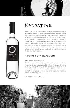 Narrative Twelve Botanicals Gin | Triple distilled with wine as its base creating a multilayered spirit. Distilled by Okanagan Crush Pad. Gin, Vodka Bottle, Deserts, Spirit, Notes, Base, Let It Be, Report Cards, Postres