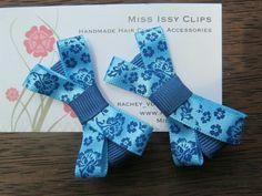 Blue floral hair clips