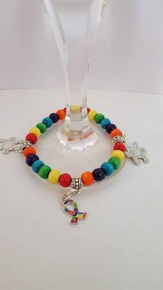End of winter Sale Mens Ladies Autism Awareness Charm Bracelet,Adult, puzzle pieces, Autism Ribbon, Fashion, Jewellery, statement piece, wo - £5.99 GBP