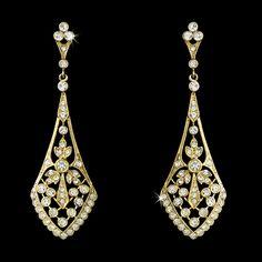 Elegant Vintage Style Cubic Zirconia Gold Earrings - Affordable Elegance Bridal -