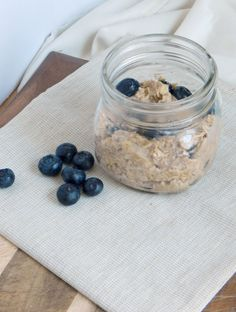 Blueberry Muffin Overnight Oats. So simple and so delicious. Have your blueberry muffin in the morning on the go! Gluten free, and dairy free.