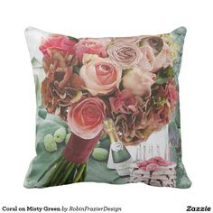 Coral on Misty Green Throw Pillows