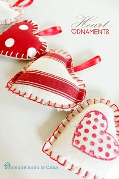 Fabric Hearts - Use them for gifts or to decorate your home -free heart pattern.