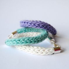 French knit bracelets by The Trouble With Ida at Folksy.com