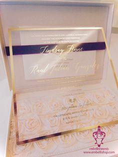 Gold Foil on Acrylic - blush, gold & marsala wedding invitation xo embellishments #luxuryinvitations #vintageinvitations #wedding #weddinginvitations #acrylicinvitations #boxedinvitations