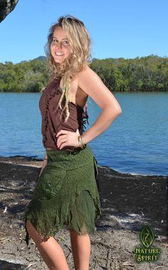 Tribal Gypsy Skirt Green Pixie Skirt Fairy by NatureSpiritDesigns