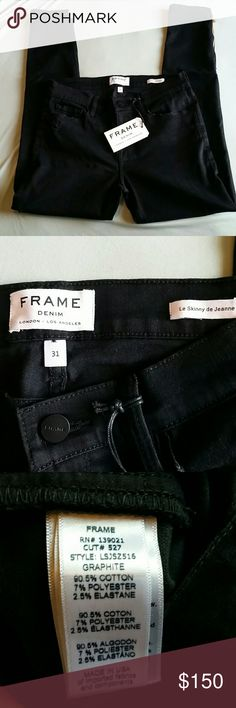 """Frame Black Le Skinny Staggered Hem size 31 NWT Staggered hem with gold hardware moto zip. Distressing throughout. Measures approximately 38.5"""" long (to longer part of hem), 29.5"""" inseam (to longer part of hem), 9.75"""" front rise, 15.5"""" flat across waist. Shade is Graphite. Frame Denim Jeans Skinny"""