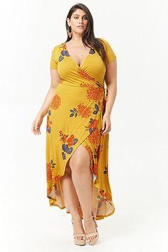 Product name:plus size floral mock wrap maxi dress, category:plus_size-ma. Plus Size Maxi Dresses, Plus Size Outfits, Halter Dresses, Wrap Dresses, Beach Dresses, Curvy Women Fashion, Plus Size Fashion, Modelos Plus Size, Look Plus