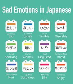 Sad emotions in japanese Japanese Language School, Japanese Language Lessons, Korean Language, Japanese Travel, Study Japanese, Japanese Culture, Learning Japanese, Japanese Quotes, Japanese Phrases