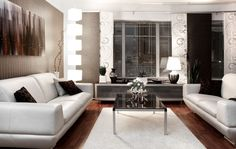 Comfortable modern room with brown tones and white furniture