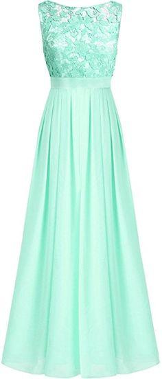 iEFiEL Damen Kleid festliche Kleider Brautjungfer Hochzeit Cocktailkleid Chiffon Faltenrock Elegant Langes Abendkleid Türkis 38 (Herstellergröße:8): Amazon.de: Bekleidung