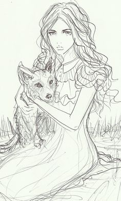 Wendy and her wolf pup by bombxbomb on tumblr