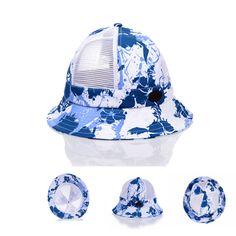 Bucket Hat Unisex Blue Flower Print Mesh Outdoor Fishing Hunting Cap Goldtop #Goldtop #Bucket
