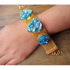 Blue Druzy Bracelet,Statement Bracelet,Druzy Bracelet,Titanium Bracelet,Agate Bracelet,Agate Slice,Gold Bracelet,Gold Jewelry,Druzy Jewelry on Etsy, $75.90