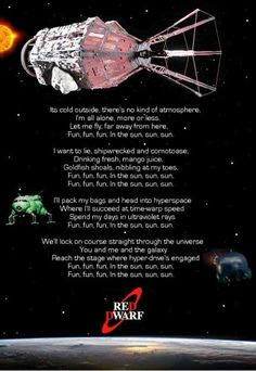 Red dwarf theme>> this is the wallpaper of my iPad rn Welsh, Im All Alone, Red Dwarf, Favorite Tv Shows, Fandoms, Nerd, Bird Sayings, Gazpacho Soup, Fun Movies