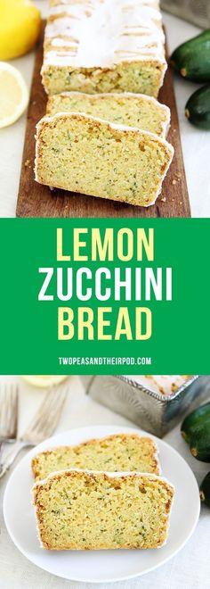 Lemon Zucchini Bread with a sweet lemon glaze! This is the BEST zucchini bread recipe! It is super moist and the lemon flavor is amazing! Lemon Zucchini Bread, Zucchini Bread Recipes, Zucchini Cake, Quick Bread Recipes, Sweet Recipes, Cooking Recipes, Recipe Zucchini, Tapas Recipes, Crab Recipes