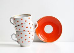 Soviet Vintage Cup and Saucer Set of 3, Polka Dot Ceramic Coffee Cups, White with Orange Red Dots, Soviet Design, USSR era 1970s by LittleRetronome, $30.00