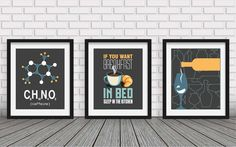 3 SET  Kitchen decorcollection wall artkitchen by BlackPelican