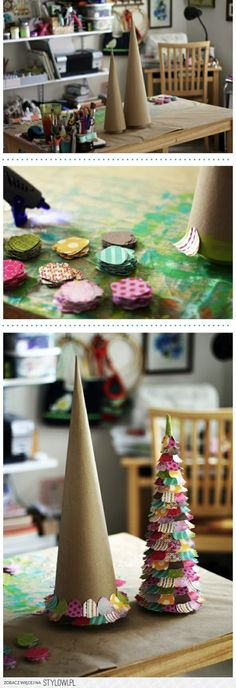DIY :: table top tree...going to try this with retired 31 swatch set. Would be cute for Claire's room