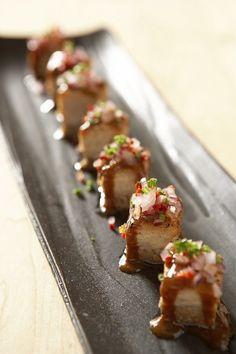 Nobu Pork belly spicy aka miso caramel, Negi salsa & schichimi