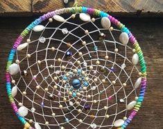 Rainbow Bright Dream Catcher with Swarovski Crystals, Czech Glass, Amazonite, Mother of Pearl, Titanium Druzy Quartz, Lace, Art