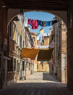Laundry strung up between buildings . Travel Around The World, Around The Worlds, Washing Lines, Laundry Lines, Window Reveal, Clothes Lines, Fantasy Inspiration, City Break, Venice Italy