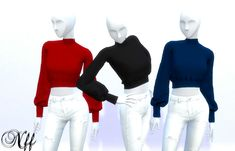 Sims4 Clothes, Long Sleeve Crop Top, Sims 4, White Jeans, Flow, Dragon, Crop Tops, Sleeves, Pants