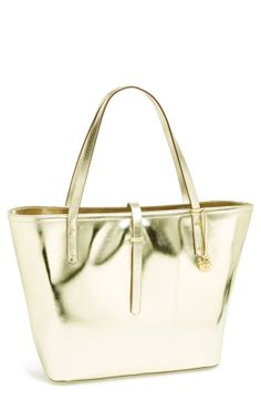 This shiny gold tote is great for work and the weekend.