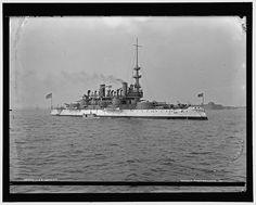 USS Indiana, BB-1, pre-dreadnaught battleship. Naval History, Military History, Uss Indiana, Uss Oklahoma, Us Battleships, Heavy Cruiser, Capital Ship, Us Navy Ships, Man Of War