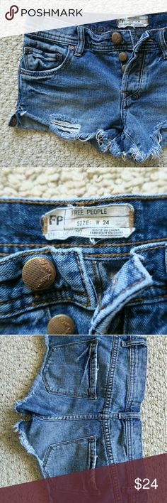 """Free People Distressed Mini Jean Shorts Excellent care condition.  ?Waist: 15"""" Length: 10 1/4"""" Hem 9 1/2""""  STYLE Distressed Jean   ?Please ask questions about the item before purchase.   100% Satisfaction Guarantee.   C H A R I O T   Be sure to check my store regularly for new, great quality items.   """"Nothing haunt us like the things we didn't buy."""" Free People Shorts Jean Shorts"""