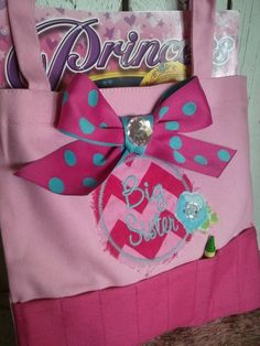 NEW Chevron Big sister tote bag filled with by PettiLittleFrills, $21.95 I love that the crayons have their own slots in the bag