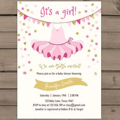 Tutu baby shower invitation Pink gold Baby door Anietillustration