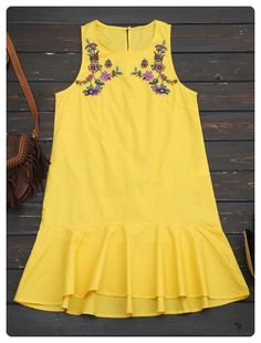 Floral Embroidered Ruffles Casual Dress (Yellow)